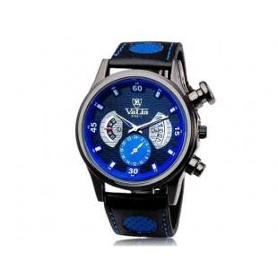 Валя 9102 Круглый циферблат аналогового дисплея Стильный наручные часы с 68 Движения, случай сплава, ТПУ каучуковый ремешок (синий)