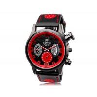 VALIA  9102 круглый циферблат аналогового дисплея Стильные наручные часы с 68 Движения, Литые Дело ТПУ каучуковый ремешок (красный)