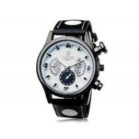 VALIA  9102 круглый циферблат аналогового дисплея Стильные наручные часы с 68 Движения, Литые Дело ТПУ каучуковый ремешок (белый)