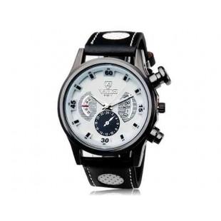 Валя 9102 круглый циферблат аналогового дисплея Стильные наручные часы с 68 Движения, Литые Дело ТПУ каучуковый ремешок (белый)