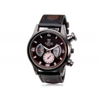 VALIA  9102 Круглый циферблат аналогового дисплея Стильные наручные часы с 68 Движения, сплав случае, ТПУ резиновый ремень (коричневый)