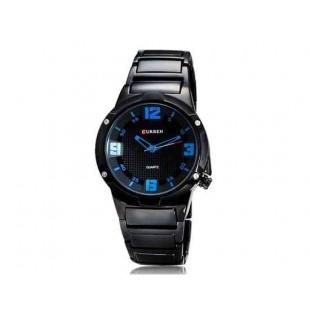 CURREN 8111 Мужская Круглый циферблат аналоговых часов с вольфрама сталь ремешок (синий)