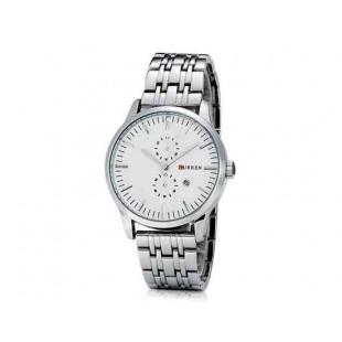 CURREN 8133 Мужская Круглый циферблат Аналоговые часы с нержавеющей стали ремешок (белый)