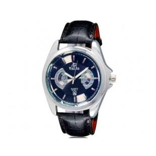 Валя 8182 Мужская Стильный Аналоговые часы с календарем и искусственного кожаный ремешок (черный) М.