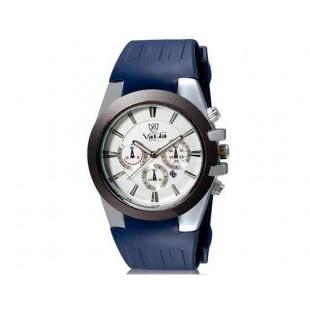 Валя 8216 Мужская Аналоговые часы с календарем и силиконовый ремешок (синий) М.