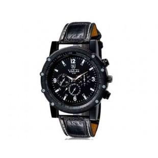 Валя 9103 Мужская модная Аналоговые часы с искусственного кожаный ремешок (черный) М.