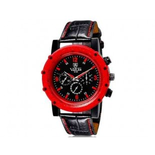 Валя 9103 Мужская модная Аналоговые часы с искусственного кожаный ремешок (красный) М.