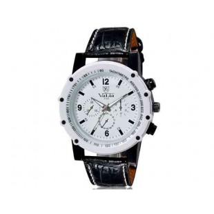 Валя 9103 Мужская модная Аналоговые часы с Faux кожаный ремешок (белый) М.