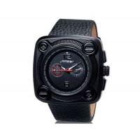 SINOBI 9469 Мужские стильные аналоговые часы с кожаным ремнем (красная вставка)