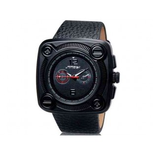 SINOBI 9469 Мужские стильные аналоговые часы с кожаным ремнем RED clock (красная вставка)