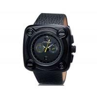 SINOBI 9469 Мужские стильные аналоговые часы с кожаным ремнем (желтая вставка)