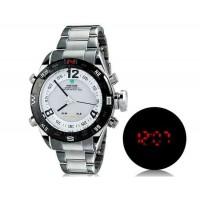 WEIDE 2310 Аналоговый и Цифровой циферблат 30 м Водонепроницаемые светодиодные спортивные часы с нержавеющим стальным браслетом (белый)