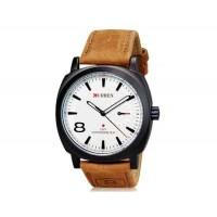 CURREN 8139 Мужские стильные часы с кожаным ремешком (белые)
