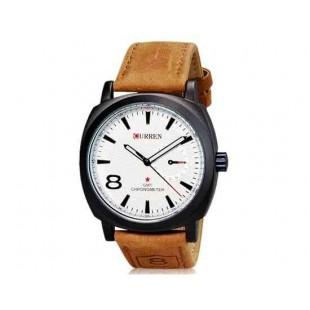 CURREN 8139 Мужские стильные часы с кожаным ремешком - белые