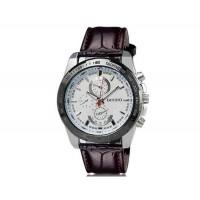 DINIHO 8014 Мужские Круглые аналоговые часы с искусственного кожаный ремешок (коричневый) М.