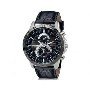 DINIHO 8012 Мужские Круглые аналоговые часы с искусственной кожи ремешок (черный) М.