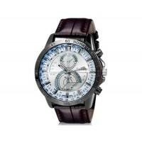 DINIHO 8012 мужские Круглый Аналоговые часы с искусственного кожаный ремешок (коричневый) М.