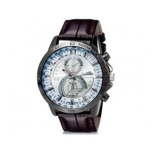 DINIHO 8012 Мужская Круглый Аналоговые часы с искусственного кожаный ремешок (коричневый) М.