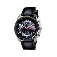 DINIHO 8013 мужские Круглый Аналоговые часы с Faux кожаный ремешок (черный) М.