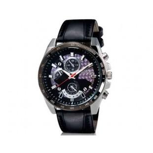 DINIHO 8013 Мужская Круглый Аналоговые часы с Faux кожаный ремешок (черный) М.