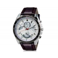 DINIHO 8013 мужские Круглый Аналоговые часы с Faux кожаный ремешок (коричневый) М.