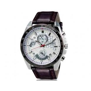 DINIHO 8013 Мужская Круглый Аналоговые часы с Faux кожаный ремешок (коричневый) М.