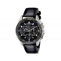 DINIHO 8015 мужские Круглый Аналоговые часы с искусственного кожаный ремешок (черный) М.
