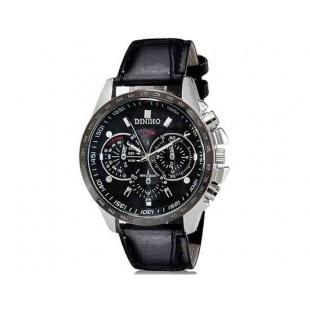 DINIHO 8015 Мужская Круглый Аналоговые часы с искусственного кожаный ремешок (черный) М.