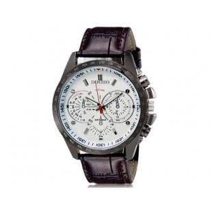 DINIHO 8015 Мужские Круглые аналоговые часы с искусственного кожаный ремешок (коричневый) М.