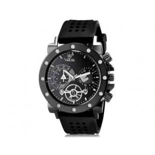 Валя 8235 человек Круглый Аналоговые часы с силиконовым ремешком (Черный) М.