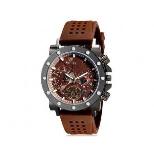 Валя 8235 человек Круглый Аналоговые часы с силиконовым ремешком (коричневый) М.