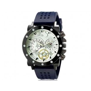 Валя 8235 Человек Круглый Аналоговые часы с силиконовым ремешком (белый и синий) М.