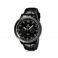 VALIA  8237 человек Круглый Аналоговые часы с Faux кожаный ремешок (черный) М.