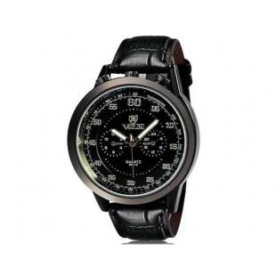 Валя 8237 человек Круглый Аналоговые часы с Faux кожаный ремешок (черный) М.