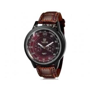 Валя 8237 человек Круглый Аналоговые часы с искусственного кожаный ремешок (коричневый) М.