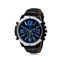 VALIA  9122 Модные мужские Аналоговые часы с Faux кожаный ремешок (синий) М.