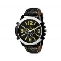 VALIA  9122 Модные мужские Аналоговые часы с Faux кожаный ремешок (желтый) М.