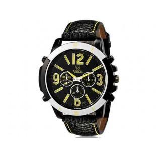 Валя 9122 Модные мужские Аналоговые часы с Faux кожаный ремешок (желтый) М.