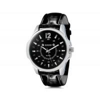 DINIHO 1105 Человек Круглый аналоговый Кварцевые часы с искусственного кожаный ремешок М.