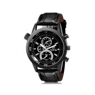 DINIHO 9134 человек Круглый аналоговый кварцевые часы с искусственной кожаный ремешок М.