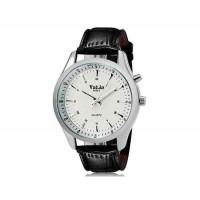 VALIA  8252 человек Круглый аналоговый Кварцевые часы с Faux кожаный ремешок (белый) М.