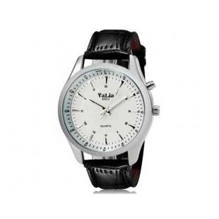 Валя 8252 человек Круглый аналоговый Кварцевые часы с Faux кожаный ремешок (белый) М.