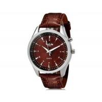 VALIA  8252  Круглый аналоговый Кварцевые часы с Faux кожаный ремешок (коричневый) М.