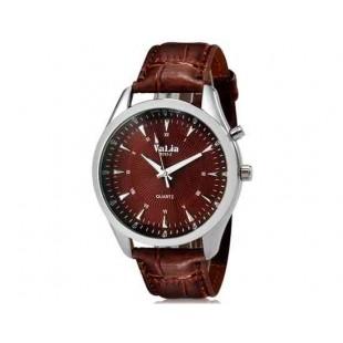 Валя 8252 человек Круглый аналоговый Кварцевые часы с Faux кожаный ремешок (коричневый) М.