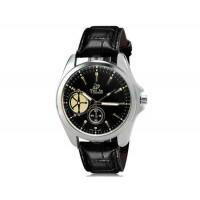 VALIA 8182 человек Круглый аналоговый Кварцевые часы с Faux кожаный ремешок (черный) М.