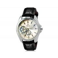 VALIA  8182 Человек Круглый аналоговый Кварцевые часы с искусственной кожаный ремешок (серебро) М.