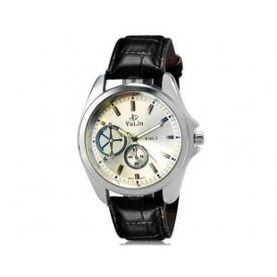 Валя 8182 Человек Круглый аналоговый Кварцевые часы с искусственной кожаный ремешок (серебро) М.