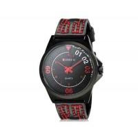 CURREN 8153 мужские модные Аналоговые часы с Faux кожаный ремешок (черный) М.
