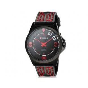 CURREN 8153 Мужская модная Аналоговые часы с Faux кожаный ремешок (черный) М.