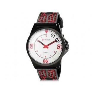 CURREN 8153 Мужская модная Аналоговые часы с искусственного кожаный ремешок (белый) М.